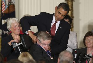 U.S. President Barack Obama presents the Medal of Freedom to Stephen Hawking.