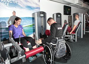 Disabled staff as a fitness trainer.