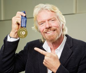 """Branson celebrating the """"First Pacific Crossing By Hot Air Balloon"""""""