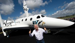 British billionaire Richard Branson pose